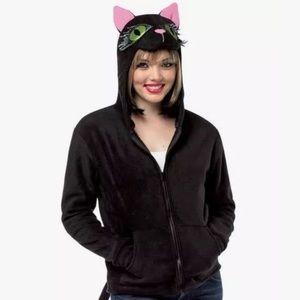 Rasta Imposta Tops - Cat Kitty Zip Up Hoodie Large